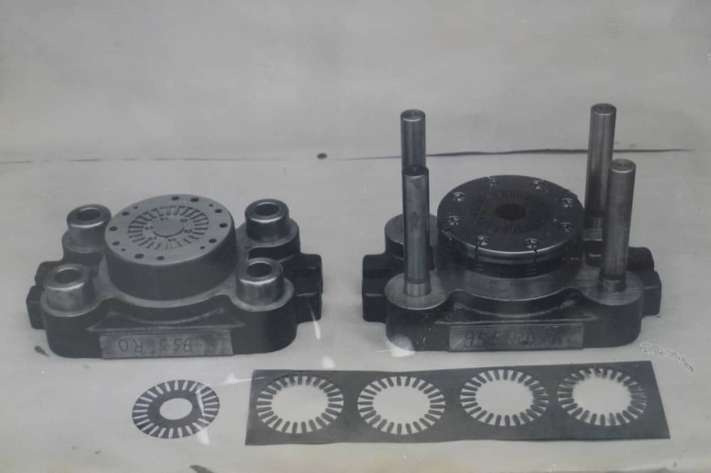 One stamp die for motor core manufactured by all grinding process in 1958